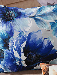 Rétro Style Oriental de Peinture à l'encre bleue Fleurs coussin décoratif avec insert