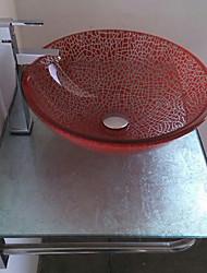 Contemporânea Lavatório Onda vermelha redonda com drenagem de água do banheiro torneira do banheiro