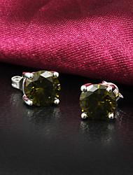 Boucles d'oreilles pendantes femmes alliage slivery cru de qualité de pierres précieuses (1 paire)