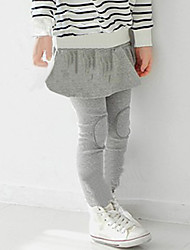 Girl's Solid Color Patch Pants