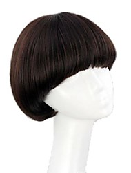Bob Short Synthetic Curly Full Bang Wig Mushroom Hairstyle Heat Resistant