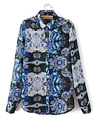Frauen Printed Long Sleeves Chiffon-Bluse