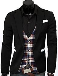 W.Rain Slim Color Stitching Lässige Blazer (Weiß, Schwarz)