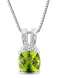 Классический стерлингового серебра с платиновым напылением с перидот и алмазов Женская ожерелье