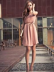 Платье шифоновое с поясом