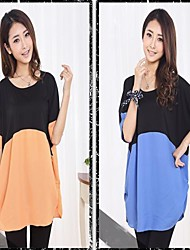 Maternity  Two Color Stiching Loose Big Size T-shirt Tops