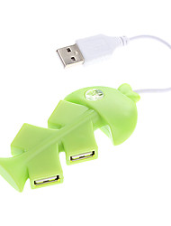 4 Ports USB 2.0 Fish Shaped High Speed HUB (Assorted Colors)