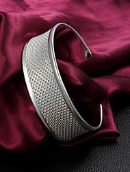 Alta Qualidade Europeia Prata Prata Fina Veias Cuffed Pulseiras