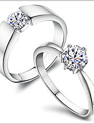 MISSING U Copper / Rhinestone / Silver Plated / Platinum Plated Ring Couple Rings Daily Single 1pc Promis rings for couples