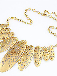 Women's Fashion Metallic Hollow Oval Necklace