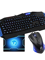 USB Wired Super Dazzle LED blu ottica ad alta velocità Gaming Keyboard + Suit mouse
