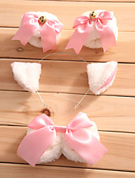 Lolita Accessories Sweet Lolita Princess Cute Cat Style Cosplay Lolita Dress White / Pink Bowknot Bracelet / Bow / Headwear For Women Satin / Fauxfur