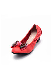 POEMLINE First Layer Cowhide Bow Decorative Mid Heel Shoes(Red)