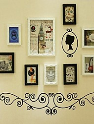 Black White Mixed Color Photo Wall Frame Collection Set of 9 with Black Wall Sticker