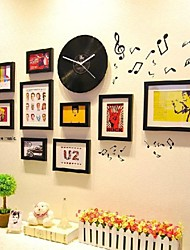 Black Color Photo Frame Collection Set of 9 with a Black Disc Clock and Music Wall Sticker