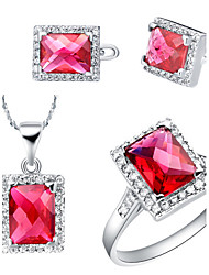 Rectangular Multicolor Cubic Zirconia (Necklaces&Earrings&Rings) Gemstone Jewelry Sets