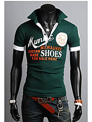 Männer stilvolle Alphabet-Druck Schlank POLO Hemd
