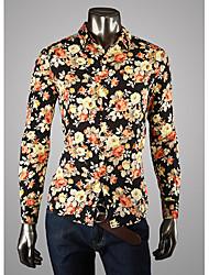Grande cópia floral camisa de manga longa Men BGY'S