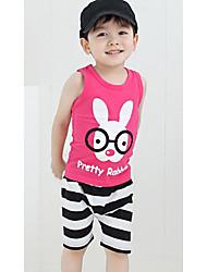 Jungen Pertty Kaninchen-Druck Stripes Lässige Kleidung Sets