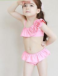Colore solido 3D Flower Swimwear della ragazza