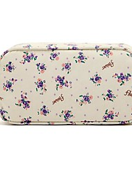 Quadrate Fresh Small Purple Flower Pattern with Fluff Balls Make up/Cosmetics Bag Cosmetics Storage
