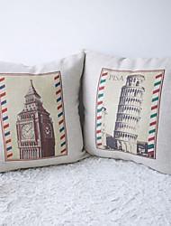 Набор из 2 Пизанская башня и Биг Бен Печатный Декоративные наволочки