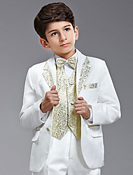 Seven Pieces White And Gold Ring Bearer Suit Tuxedo With Two Bow Ties