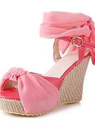 Women's Shoes Leatherette Summer / Fall Wedges / Peep Toe / Platform / Slingback Dress Wedge Heel Buckle Green / Pink / Beige