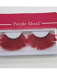 1 Pair Pro High Quality Hand Made Red Color Feather False Eyelashes