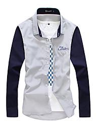 Contraste Masculina Cor emenda camisa de manga longa