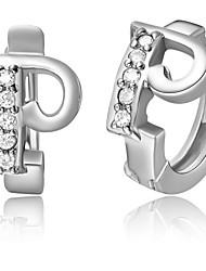 """Специальный серебро и золото с покрытием из кубического циркония Письмо """"P"""" Женская серьга (больше цветов)"""