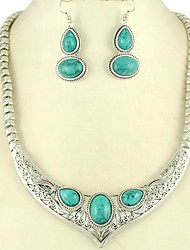 aleación de estilo europeo collar de turquesa conjunto pendiente joyas