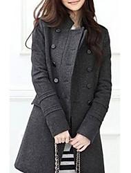 Feminino Casaco Casual Simples Outono / Inverno, Sólido Preto / Cinza Lã / Poliéster Colarinho Chinês-Manga Longa Grossa