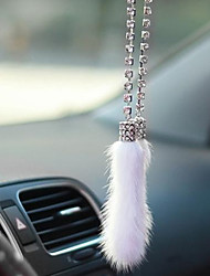 Auto Pendant Black & White Mink Fox Fur Hangings