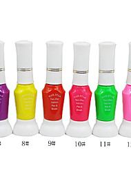 Dual-Use Nail Art Pen With Nail Polish Brush & Fine Pen Nib No.7-12(1PCS,10ml,Assorted Color)