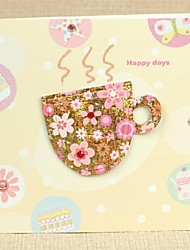 Floral Tea Cup Pattern Square Side Fold Greeting Card for Mother's Day