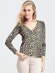 Frauen Pullover Long Sleeve Leopard-Drucken V-Ausschnitt Strickjacke