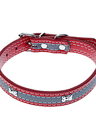 Cat / Dog Collar Reflective / Adjustable/Retractable Red / Black / Blue / Rose PU Leather
