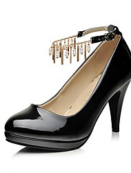 Patent Leather Women's Cone Heel Pumps/Heels  with Chain Shoes(More Colors)
