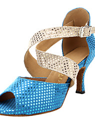 Chaussures de danse(BleuTalon Bottier-Daim-Latine Salon
