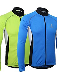 Arsuxeo Cycling Jersey Men's Long Sleeve Bike Jersey Tops Thermal / Warm Quick Dry Anatomic Design Front Zipper BreathablePolyester 100%