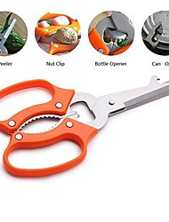 Multi-functional Kitchen Scissors for Peeler Can Opener Bottle Opener and Nut Clip,  7'', Stainless Steel