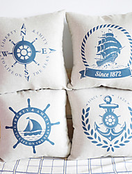 Cotton/Linen Pillow Cover , Nautical Accent/Decorative