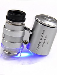 Smallest Jeweler's Microscope 60X 2 LED Mini Pocket Microscope Magnifier Jeweler Loupe