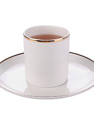 Simple Coffee Mug with Plate, Set of 2 Porcelain 8oz