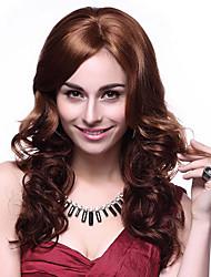 100% Kanekalon Synthetic Elegant Wavy Long Chestnut Brown Wig