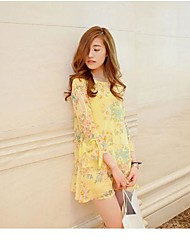 Women's Floral Black/Yellow Dress , Print U Neck ¾ Sleeve Mesh