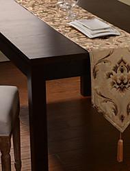 Spun Gold-Jacquard Floral Light Coffee Polyester Tischläufer