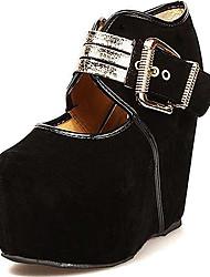 Women's Shoes Suede Spring / Summer / Fall / Winter Wedges / Heels / Platform Dress / Casual / Party & Evening Wedge Heel BuckleBlack /