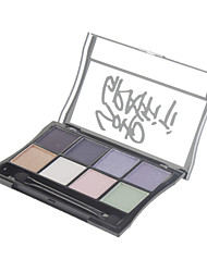 8 Paleta de Sombras Brilho Paleta da sombra Pó Normal Maquiagem para o Dia A Dia
